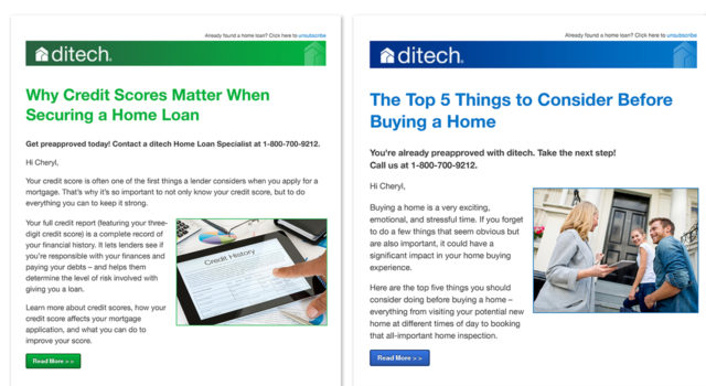 ditech mortgage corp. HubSpot emails.