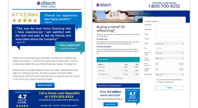 ditech – Testimonial Email and Landing Page